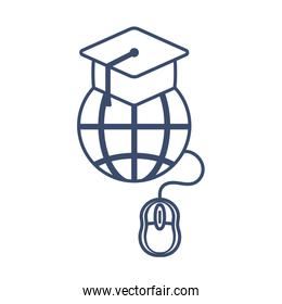 global education with graduation cap, line style icon