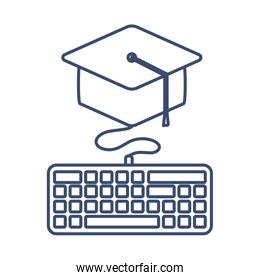 computer keyboard with graduation hat, line style icon