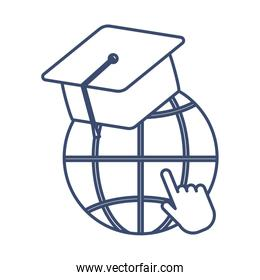 symbol global education with graduation cap, line style icon