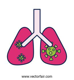 lungs with virus and infection, line and fill style icon
