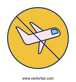 passenger air plane with prohibition sign, line and fill style icon
