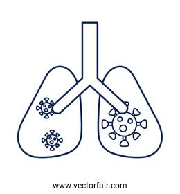 lungs with virus and infection, line style icon