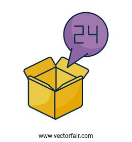 cardboard box open with speech bubble on white background