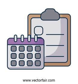 clipboard with paper sheets and calendar on white background