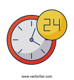 wall clock with symbol open around the clock, 24 hours on white background