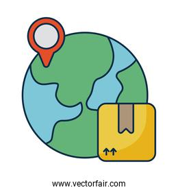 planet earth with cardboard box on white background