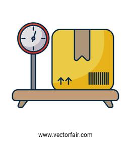 cardboard box over industrial cargo weight scale on white background