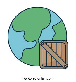 planet earth with wooden box on white background