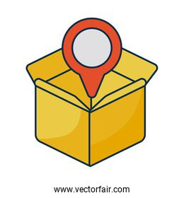cardboard box with pointer of place on white background