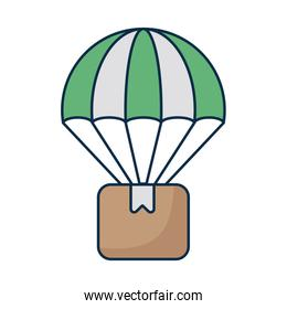 cardboard box with parachute on white background