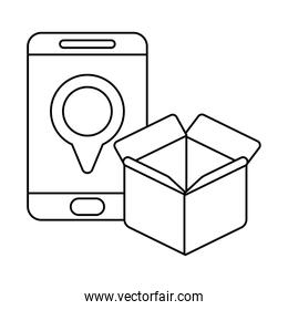 parcel delivery tracking on the smartphone , line style icon