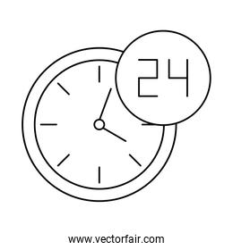 wall clock with symbol open around the clock, line style icon