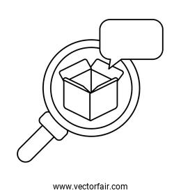 magnifying glass with cardboard box open , line style icon