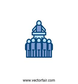 Isolated avatar on podium line and fill style icon vector design