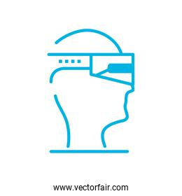 Isolated head with smartglasses line style icon vector design