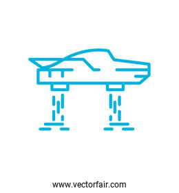 Isolated flying car line style icon vector design
