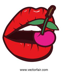 fresh fruit cherries with sexy mouth of woman pop art style