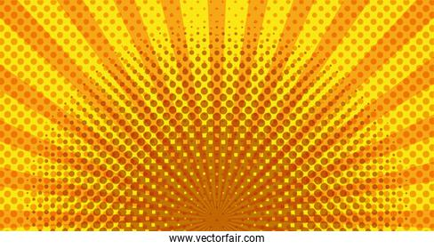 yellow color sunburst pop art background