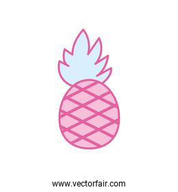 Isolated pineapple fruit neon line and fill style icon vector design