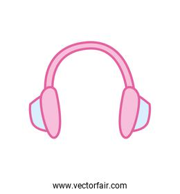 Isolated music headphone neon line and fill style icon vector design