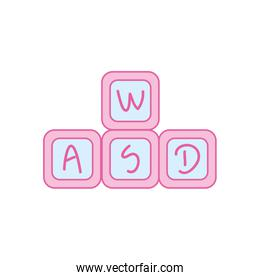 Isolated cubes toy neon line and fill style icon vector design