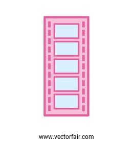 Isolated movie strip neon line and fill style icon vector design