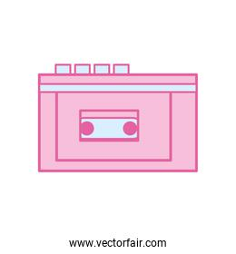 Isolated music walkman neon line and fill style icon vector design