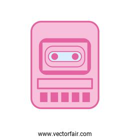 Isolated music tape recorder neon line and fill style icon vector design