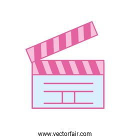 Isolated movie clapboard neon line and fill style icon vector design
