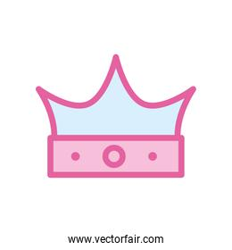 Isolated royal crown neon line and fill style icon vector design