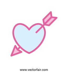 Isolated heart with arrow neon line and fill style icon vector design