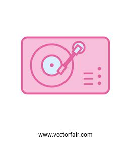 Isolated music turntable neon line and fill style icon vector design