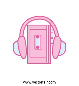 Isolated music headphone and walkman neon line and fill style icon vector design
