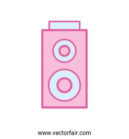 Isolated music speaker neon line and fill style icon vector design