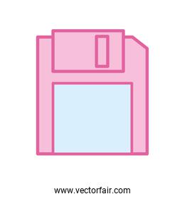 Isolated diskette neon line and fill style icon vector design