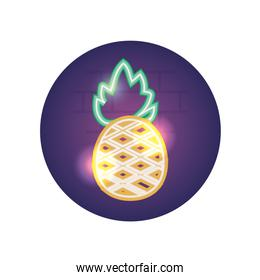 Isolated pineapple fruit neon style icon vector design
