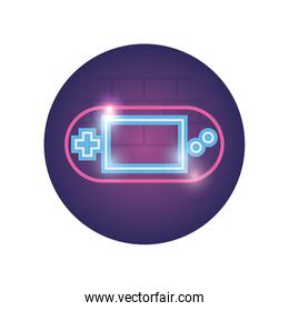 Isolated videogame control neon style icon vector design