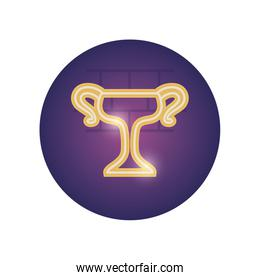Isolated trophy neon style icon vector design