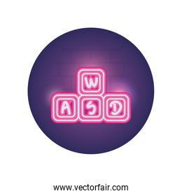 Isolated cubes toy neon style icon vector design