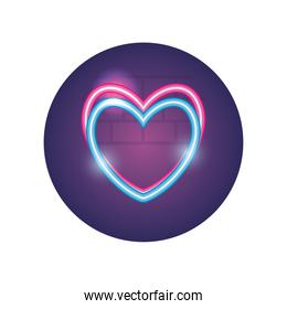 Isolated heart neon style icon vector design