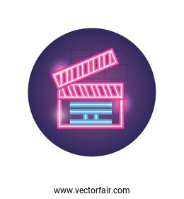 Isolated movie clapboard neon style icon vector design