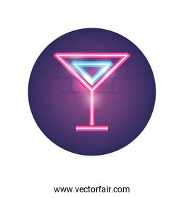 Isolated alcohol cocktail neon style icon vector design