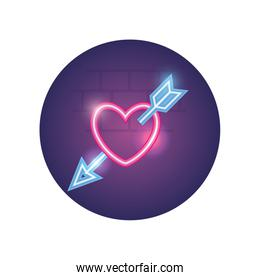 Isolated heart with arrow neon style icon vector design