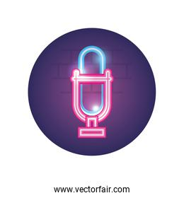 Isolated music microphone neon style icon vector design
