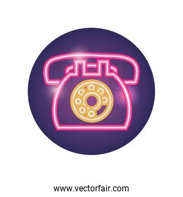 Isolated phone neon style icon vector design