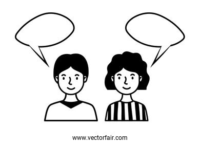 young couple with speech bubble characters