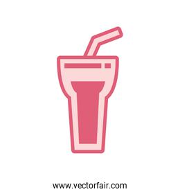 Isolated soda glass drink line style icon vector design