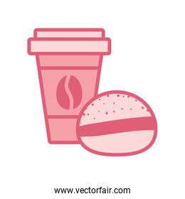 Isolated coffee mug with bread drink line style icon vector design