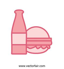 Isolated bottle and hamburger line style icon vector design