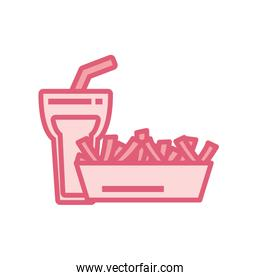 Isolated soda glass and french fries box line style icon vector design
